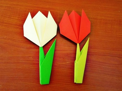 Make a paper Tulip Flower with Stem and Leaf-Easy Origami Instructions