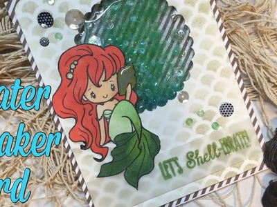 Mermaid Water Shaker Card Tutorial. Color Throwdown #400 | I'm A Cool Mom