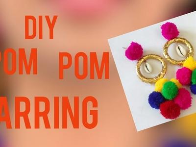 Multi coloured pom poms earring. making at home