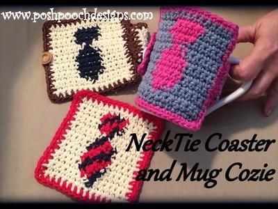 NeckTie Coaster and Mug Cozie Crochet Pattern
