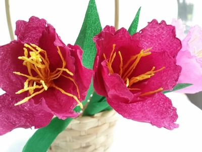 Paper flowers tulip diy tutorial easy From crepe paper tutorial making realistic paper flowers