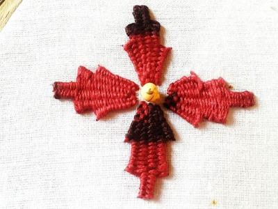Quilling Made Easy : Hand Embroidery: Beautiful Kadai Kamal Kasida Stitch Red Flower