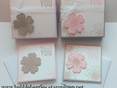 Stampin' Up! Simple Thank You Gift Box using Flower Shop for matching 3 x 3 Cards