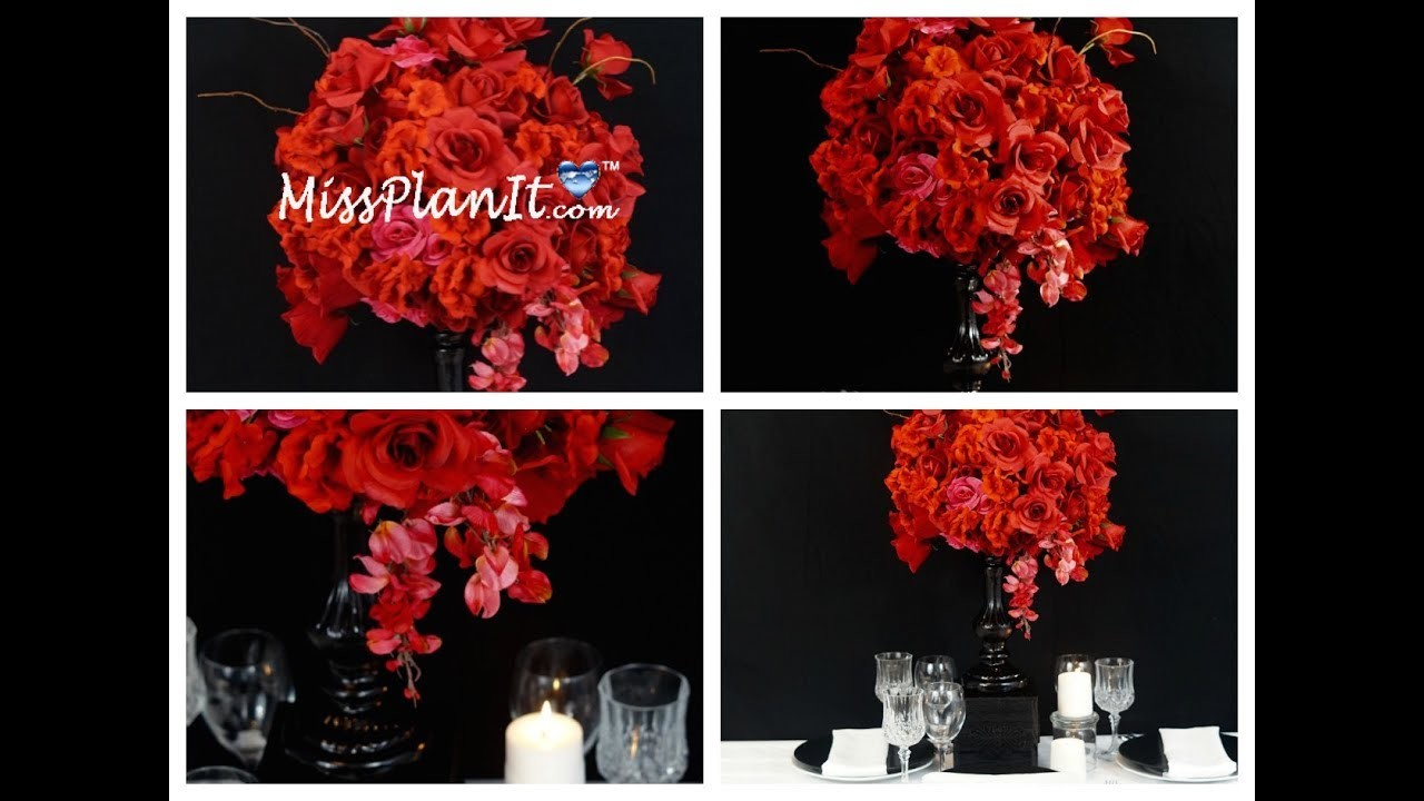 Tall Wedding Centerpiece. DIY. How To Create A Tall Rose Garden Candlestick Centerpiece