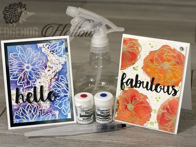 Tips on how to reverse stamp with water using images from Elizabeth Craft Designs