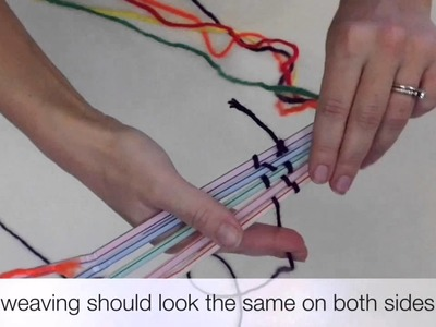 Weaving on a loom made from drinking straws short