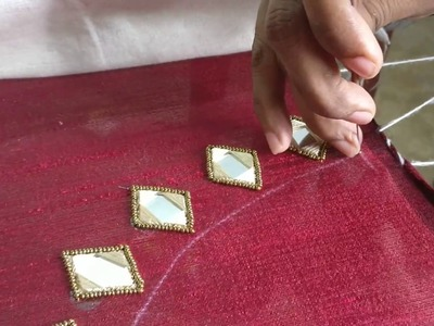 Diamond mirror work with antique sugar beads for a wedding blouse