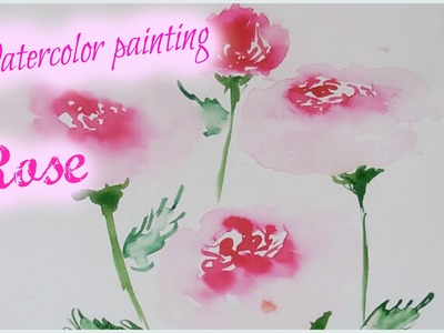 Easy Watercolor Painting for kids - Rose watercolor painting
