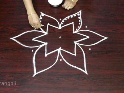 Friday kolam with 5 to 3 interlaced dots || muggulu designs with dots || easy rangoli designs
