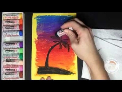 How to draw a Sunset with a Palm tree in Oil Pastel