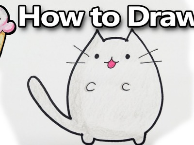 How to Draw Pusheen a Cute Kawaii Cat Cartoon! Drawing Tutorial  | DoodleDrawCute