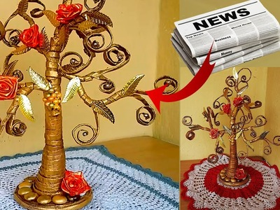 How to Make Beautiful Golden Tree with Waste Newspaper  - DIY newspaper crafts-Best out of waste
