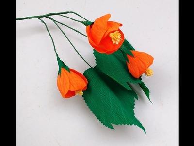 How to make Paper Flower Red Vein Indian Mallow \ Abutilon (flower # 167)
