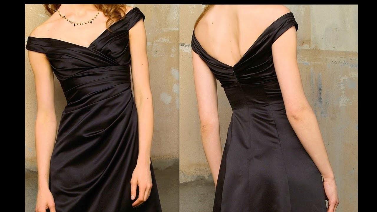 How to make Princess A-Line V-Neck off the shoulder wedding dress with side drape and ruched back