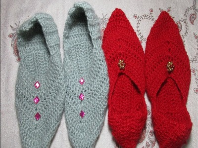 How to make punjabi jutti.slippers using crochet.[Hindi.Punjabi]