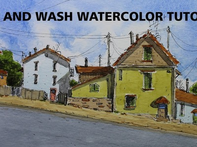 Line and Wash  Easy Watercolor tutorial Great for beginner lesson