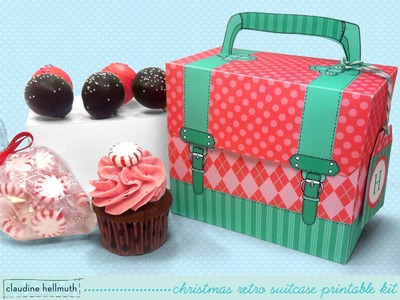 Make a Christmas treat box holds candy, cupcakes, cookies and cake pops retro suitcase look