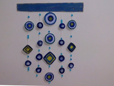 Newspaper wall hanging | Newspaper Craft Ideas | Newspaper wind chime | for Home Best Craft Desing