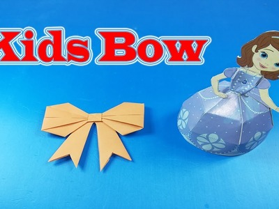 Origami - How to fold a paper Bow. Ribbon - Make Simple Easy Paper Bow - Kids Bow