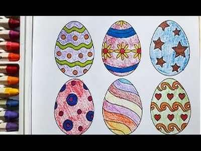 Simple Example How to Draw the Easter egg - Coloring Book with Colored Markers