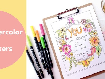 Watercolor with Markers, Painting Watercolour flowers, Tombow Dual Brush Pens, Adult Coloring