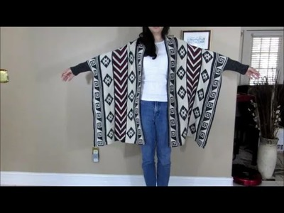 Womens Knitted Cardigan Geometric Pattern Bat Sleeve Sweater Shawl Capes Coat