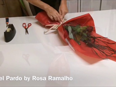 Wrapping two roses with transparent cellophane and tissue paper#wrapflowers
