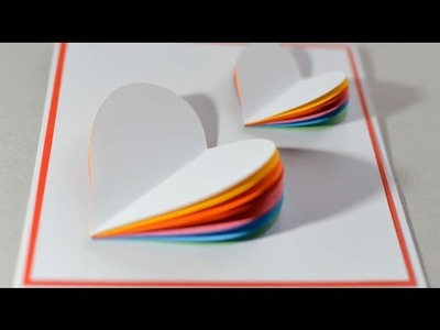 2017 How to Make   Valentine's Day Card Rainbow Heart Greeting Card
