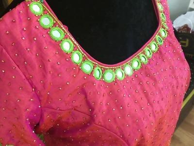 Banaras silk crop top with mirror work and cut beads