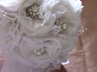 Bridal Bouquet. .handmade lace and fabric flowers and handmade brooches.