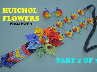DIY beaded HUICHOL FLOWERS. PROJECT 1. TUTORIAL part 2 of 3. THUMBS UP!!!