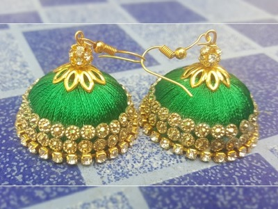 (DIY)HOW TO MAKE DESIGNERS WEAR SILK THREAD JHUMKA.SILK THREAD EARRINGS.THE STUNNING HANDMADE'S❤