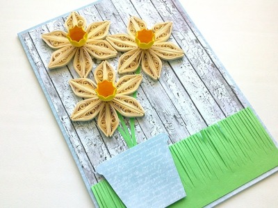 Greeting Сard with Quilling Flowers - Step by Step -Creative Paper