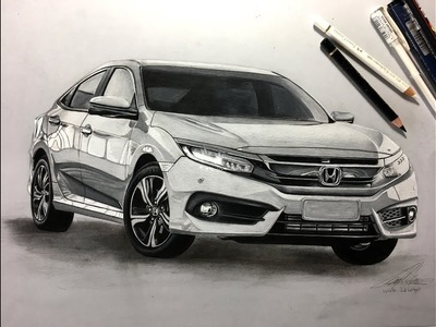 How to Draw a Car: Honda Civic 2017 (Realistic) | Cómo Dibujar un Auto: Honda Civic 2017 (Realista)