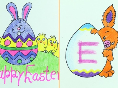 How to Draw Easter Eggs & Cute Bunny in 5 Min. (Very Easy)