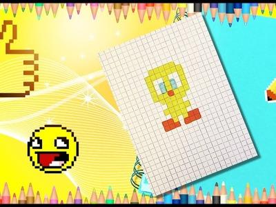 How to draw Tweety? Pixel Tweety. How to draw a bird KAWAII?