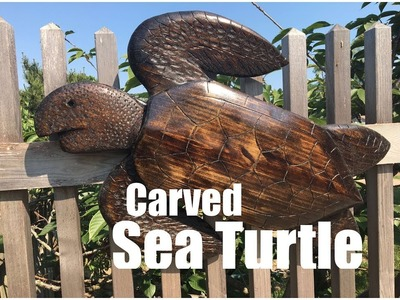 How to make an easy DIY carved Wood Sea Turtle wall or fence sculpture