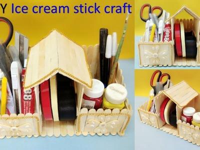 How to make desk organizer with ice cream stick | DIY | ice cream stick craft ideas