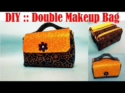 How to make Double Decker Makeup Bag at home !! Foam Crafts !!