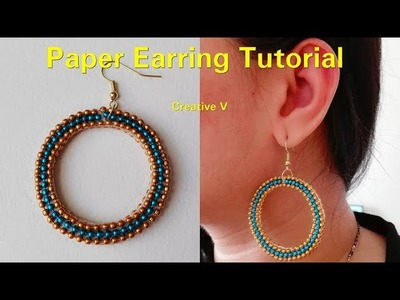 How to make Paper Earrings | made out of paper. Design 5