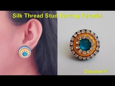 How to make Silk Thread Stud Earring. Tutorial. Silk thread earring. Design 1