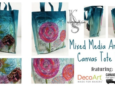 Mixed Media Art on a Canvas Tote Bag