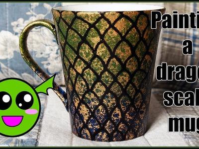 Painting a dragon scale mug
