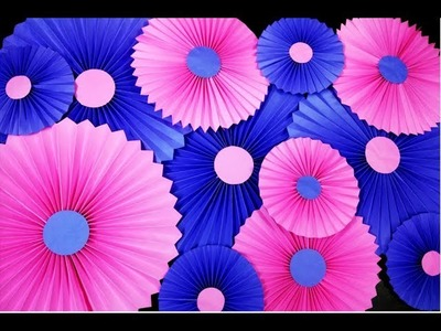 Party decorations with paper Rosettes. Paper Fan || How to make Paper Fan || Hand Fan ||Craftastic