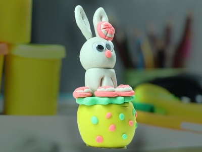 Play Doh Clay Bunny Rabbit - Easter Crafts for kids