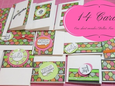 14 Card One Sheet Wonder.Dollar Tree Stamps Review