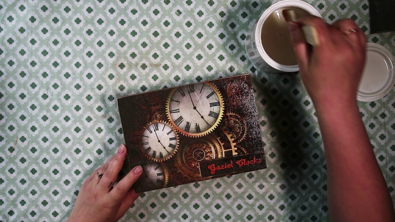 #16. RETRO CLOCKS BOX. DIY. DECOUPAGE. ETUI NA ZEGARKI . SUOMI. TUTORIAL
