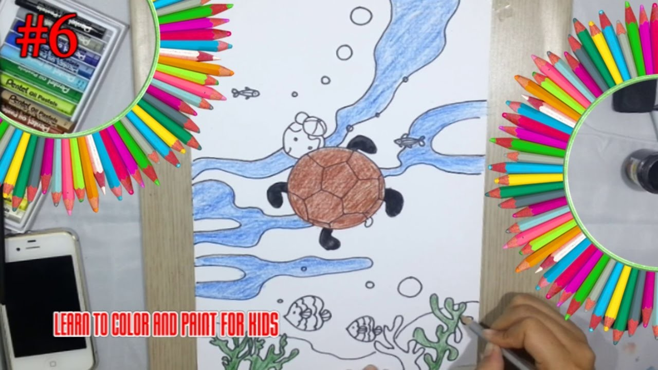 Art For Kids, Learn To Draw Color Turtle Easy #6