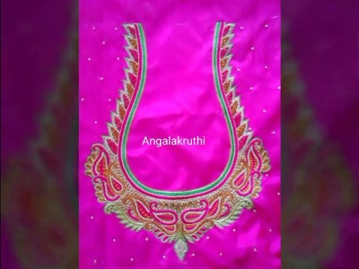 Bridal blouse hand embroidery designs by Angalakruthi boutique Bangalore