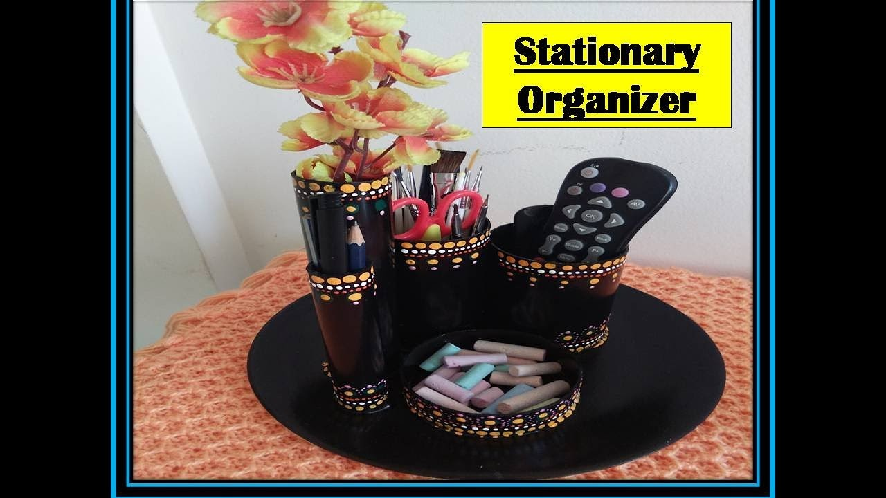 DIY - Desk.stationary organizer out of  PVC pipes. .very easy to make.